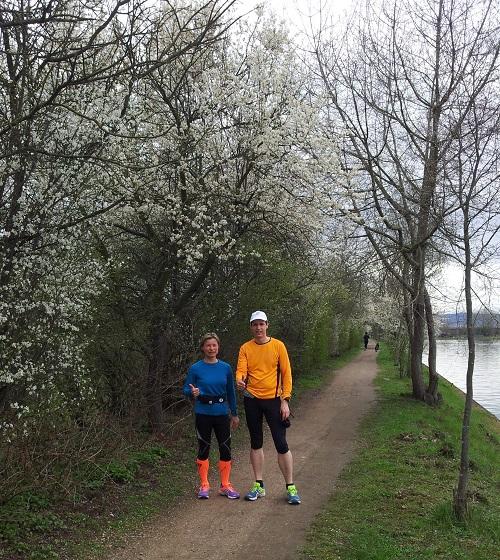 14.04.2013 Beim 20-km-Lauf eine Woche vor unserem 1. Marathon