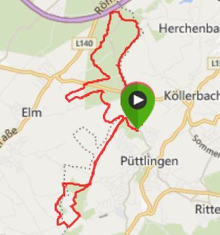 Waldlauf bei Püttlingen 16,99 km / Durchschnittspace 5,47 / 181 hm